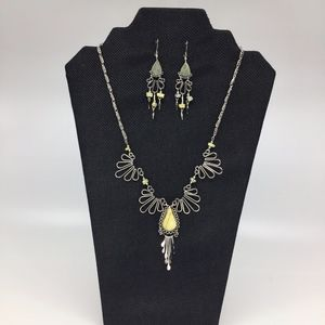 Green Serpentine Peruvian Necklace and Earring Set